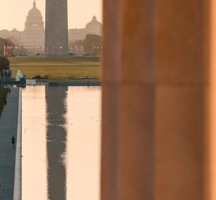 lincoln memorial, washington dc, reflecting pool, lincoln memorial reflecting pool, washington monument, us capitol, early morning, sunrise, bicyclist, column