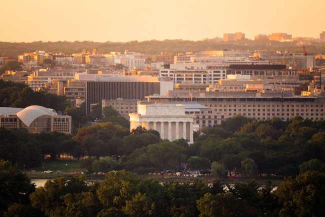 lincoln memorial, altaire, crystal city, arlington, virginia, rooftop, sunset, national mall, washington dc, orange,