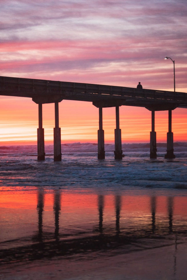 ocean beach, san diego, california, sunset, pier, reflection, pacific ocean, ob, socal