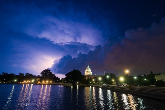 united states, capitol building, storm clouds, lightning, night photography, capitol hill, weather, purple skies, blue hour