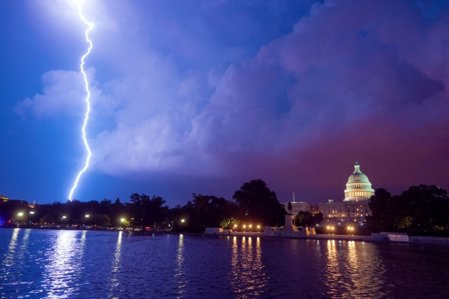 washington dc, united states capitol, reflecting pool, storm, weather, lightning, sunset, night, capitol hill