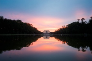 lincoln memorial, washington dc, national mall, reflecting pool, sunset, trees, tourists, visitors, reflection, summer, storms