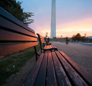 washington dc, washington monument, sunset, park benches, glow, washington monument, national mall, washington dc,