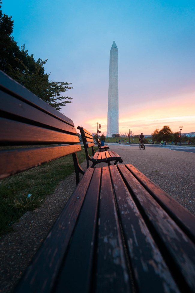 washington dc, washington monument, sunset, park benches, glow, washington monument, national mall, washington dc,