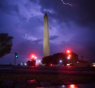 washington dc, national mall, washington monument, street lights, night photography, lightning, weather, reflection, 15th street, northwest,