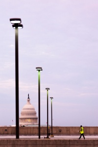 union station, train station, parking, parking garage, sunrise, early morning, worker, construction, us capitol, capitol dome, capitol building