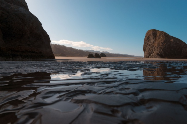 Meyers Creek Beach, Samuel H Boardman State Scenic Corridor, southwest oregon, coastline, sand beach, reflection, rocks, viewpoint, curry county,