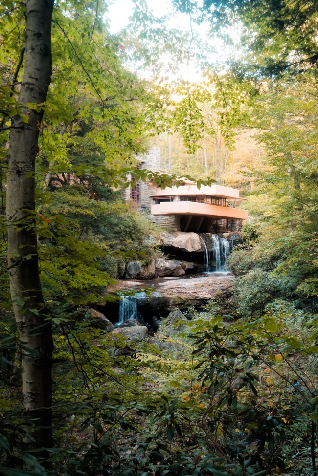 fallingwater, frank lloyd wright, southwestern pennsylvania, mill run, architecture, waterfall, fall, autumn, fallingwater architect ure, fallingwater house