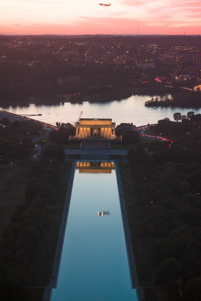 reflecting pool, airplane, lincoln memorial, sunset, washington monument, views, top of the washington monument, tickets, airport, night photography, washington dc, arlington, virginia, va
