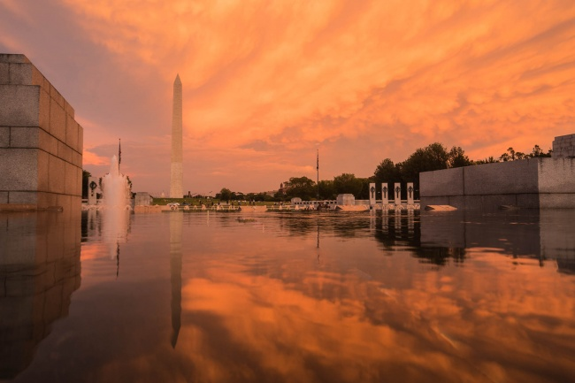 world war ii memorial, sunset, orange, reflection, washington monument, memorial, national mall, washington dc, fountain