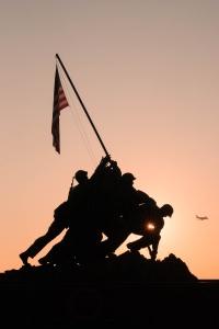 iwo jima, us marine corps war memorial, arlington, virginia, va, sunrise, american flag, veterans day, veterans, george washington parkway, arlington county, Arlington Ridge Park , soldiers