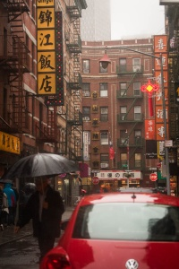 rainy day, cinematic, moody, images, photography, travel, new york city, nyc, umbrellas, punch buggy, volkswagen, red car, umbrellas, street photography