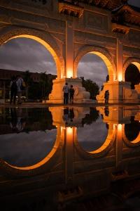 national chiang kai-shek memorial hall, chiang kai shek, taiwan, taipei, reflection, rain, puddles, zhongzhen district, taiwan, evening, rain, liberty hall,