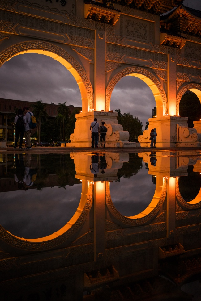 national chiang kai-shek memorial hall, chiang kai shek, taiwan, taipei, reflection, rain, puddles, zhongzhen district, taiwan, evening, rain, liberty hall,