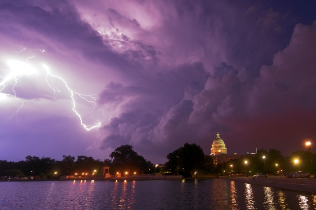 united states capitol, us capitol, reflecting pool, washington dc, lightning strike, summer, storm, lightning, lightning strike, storm clouds, capitol building, capitol hill, national mall