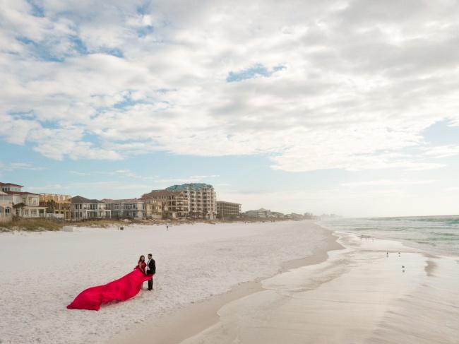 destin, florida, florida beach wedding, early morning, drone, beach wedding, flowy red dress, shayan photography, fahim, taz, vow renewal