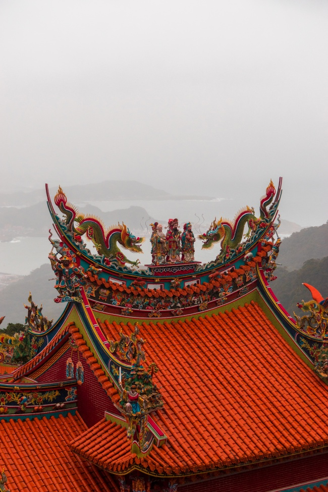 jiufen, jioufen, taiwan, taipei, temple, mountains, shengping theater, landscape, mountains, bus