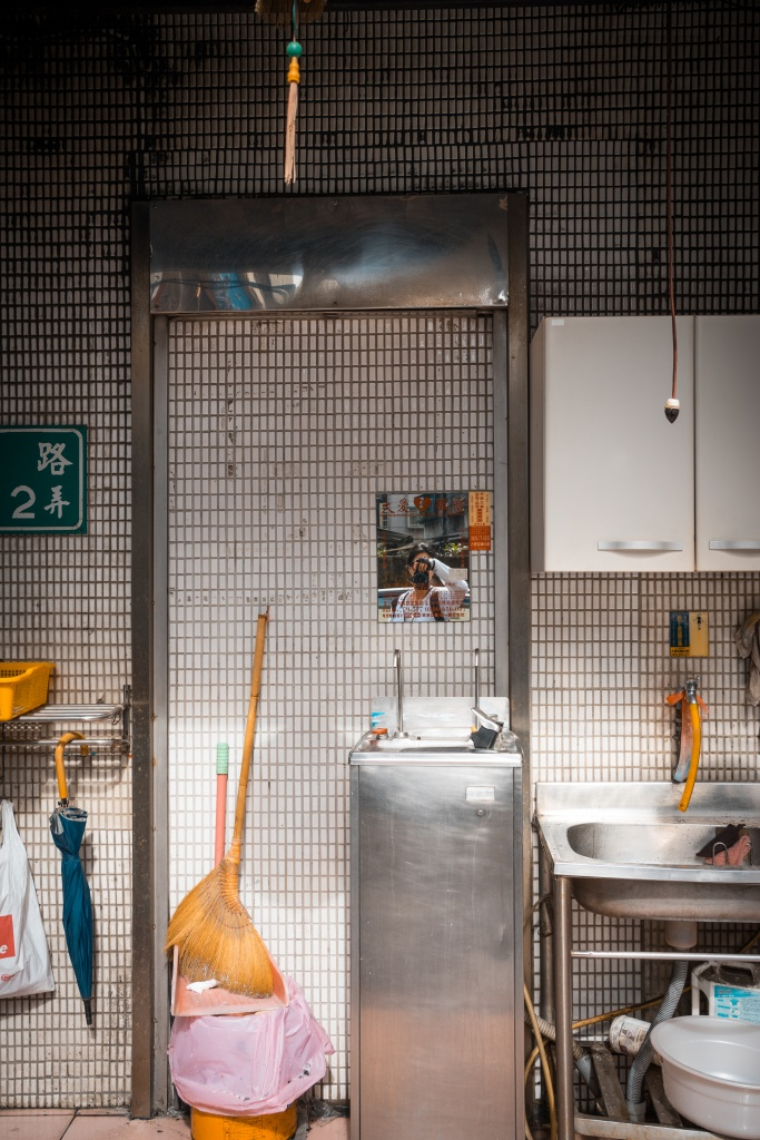 taipei, taiwan, restaurant, kitchen, mirror, reflection, travel, self portrait, tamshui