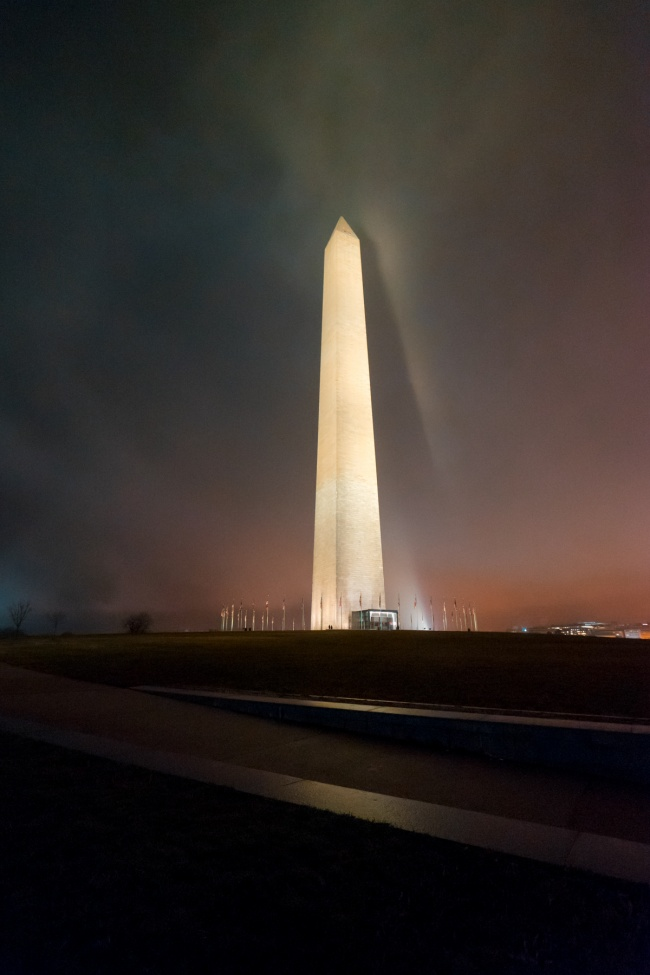 washington monument, washington dc, national mall, shadow, night shadow, fog shadow, lights, evening, national park service, obelisk, night photography
