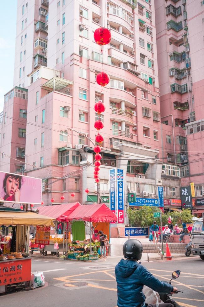 taipei, taiwan, zhuwei, pink, billboard, asia, island life, red lanterns, sweet apple, dragon fruit, scooter, street market