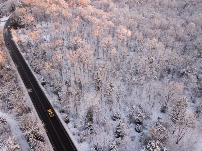 virginia, va, snow, winter, trees, road, sudley road, 234, dji, mavic pro,