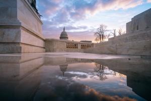 US Capitol, sunrise, capitol dome, united states capitol, washington dc, puddle, Ulysses S Grant Memorial, reflecting pool, national mall, washington dc,