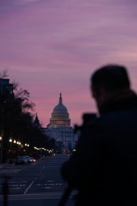 washington dc, freedom plaza, us capitol, sunrise, mark alan andre, pennsylvania ave, pink sky