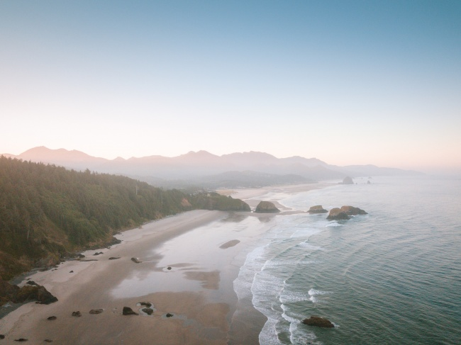 ecola state park, cannon beach, sunrise, early morning, pacific northwest, oregon, oregon coast, pacific ocean, oregon beach, seaside, drone, dji mavic