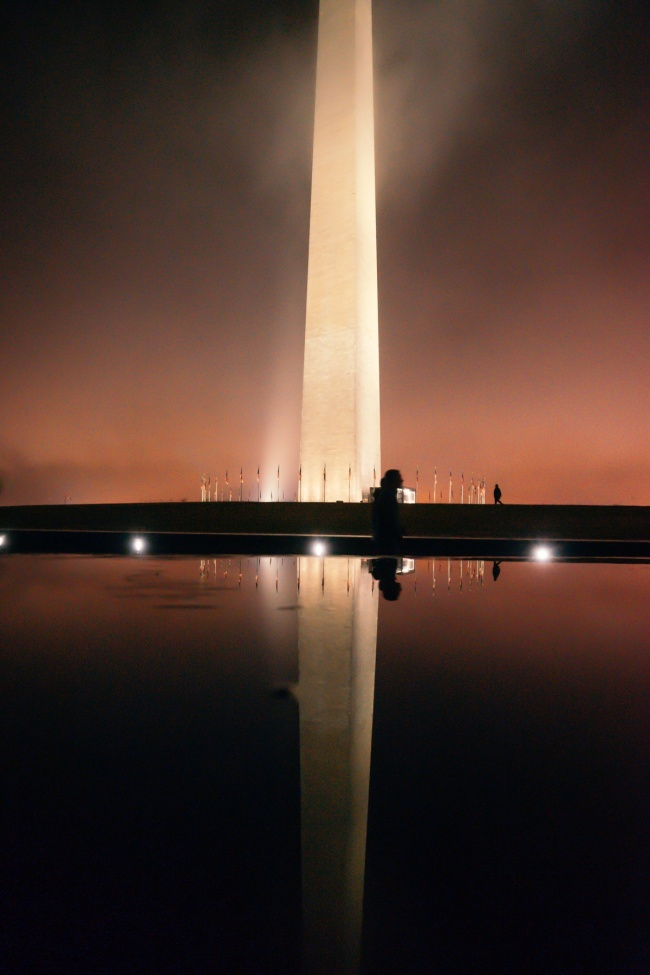 washington monument, washington dc, national mall, fog, foggy night, reflection, visit washington dc, orange glow, night photography, reflection