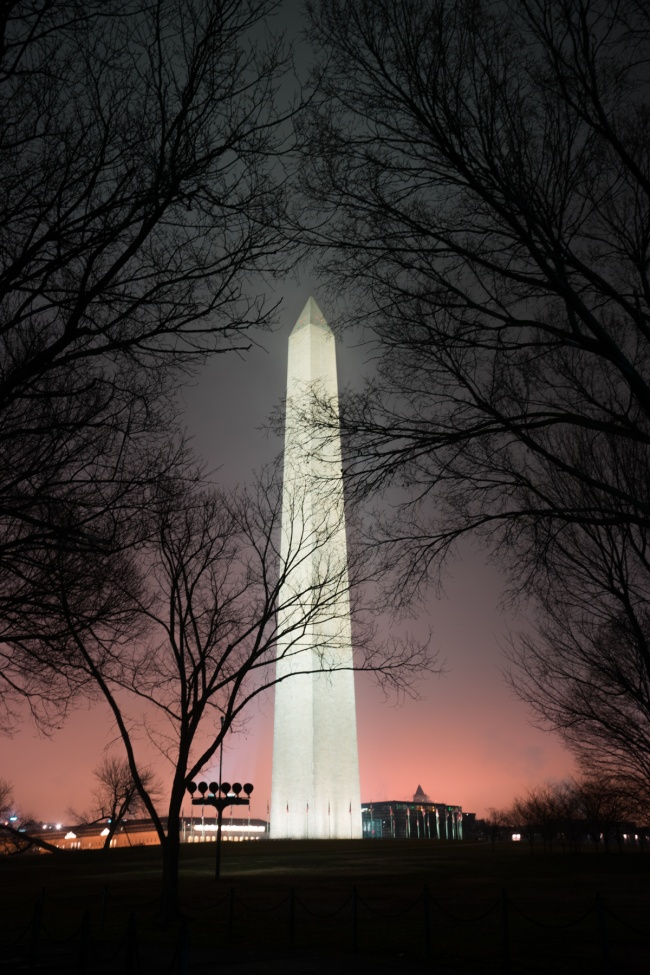 washington monument, washington dc, national mall, shadow, night shadow, fog shadow, lights, evening, national park service, obelisk, night photography