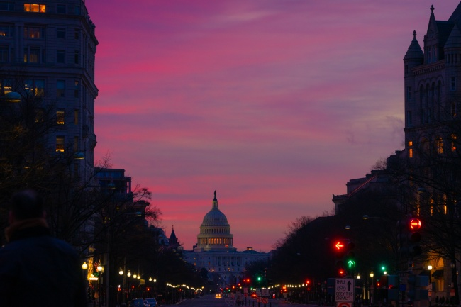 pennsylvania avenue, us capitol, sunrise, street lights, street, northwest, freedom plaza, dc, traffic, trump tower, old post office