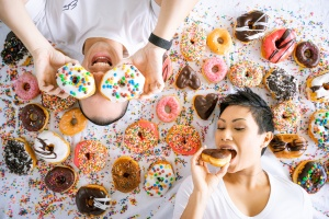 donuts, doughnuts, photoshoot, couples photoshoot, doughnut themed photoshoot, engagement photoshoot, save the date photoshoot, dessert photoshoot, sweets, sprinkles, american beauty