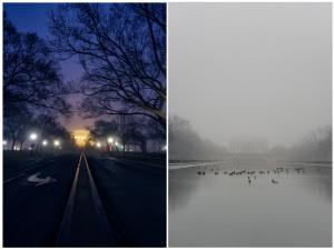washington dc, fog, national mall, reflecting pool, lincoln memorial reflecting pool, fog, sunrise, early morning, us capitol, lincoln memorial,