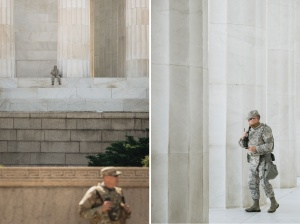 lincoln memorial, national guard, washington dc, national mall, dc police, lincoln steps, reflecting pool, washington monument