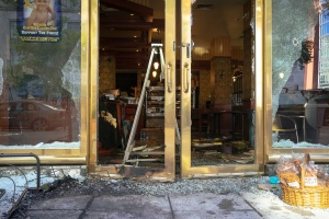 washington dc, businesses, store front, riots, looting, broke glass,