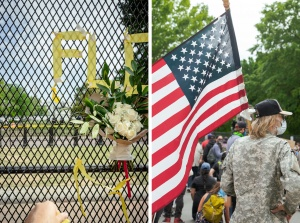 george floyd, american flag, protest, social injustice, flowers, washington dc, white house