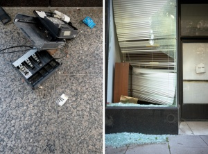 washington dc, businesses, store front, riots, looting, broke glass, broken in register,