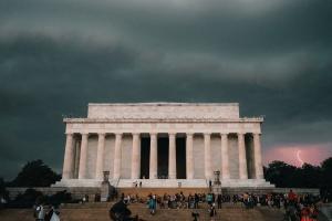 national mall, washington dc, washington monument, storm, lightning, dark clouds, reflecting pool, lincoln memorial, lightning strike, thunder, rain