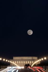 lincoln memorial, long exposure, night photography, arlington memorial bridge, lincoln memorial, washington dc, full moon