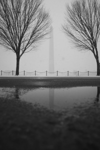 washington monument, reflection, puddle, 17th street, snow, winter
