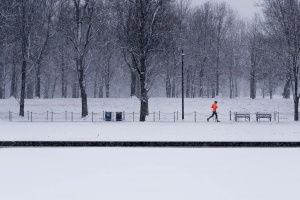 reflecting pool, washington dc, national mall, runner, snow, winter, reflection