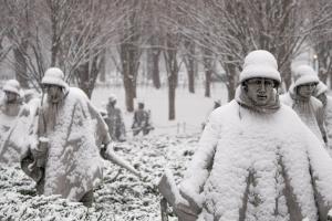 korean war memorial, snow, winter, washington dc, national mall