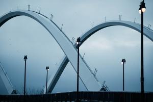FREDERICK DOUGLASS MEMORIAL BRIDGE, navy yard, waterfront, washington dc, prince george, maryland, new bridge, arches, architecture, reflection